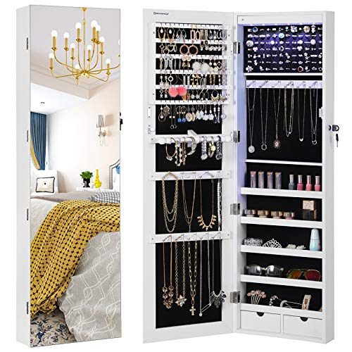 """SONGMICS 47.2"""" H Full Screen Mirrored Jewelry Cabinet Armoire, 6 LEDs Jewelry Organizer Wall Hanging/Door Mounted, Larger Capacity, Valentine Gifts, Pure White UJJC99WT"""