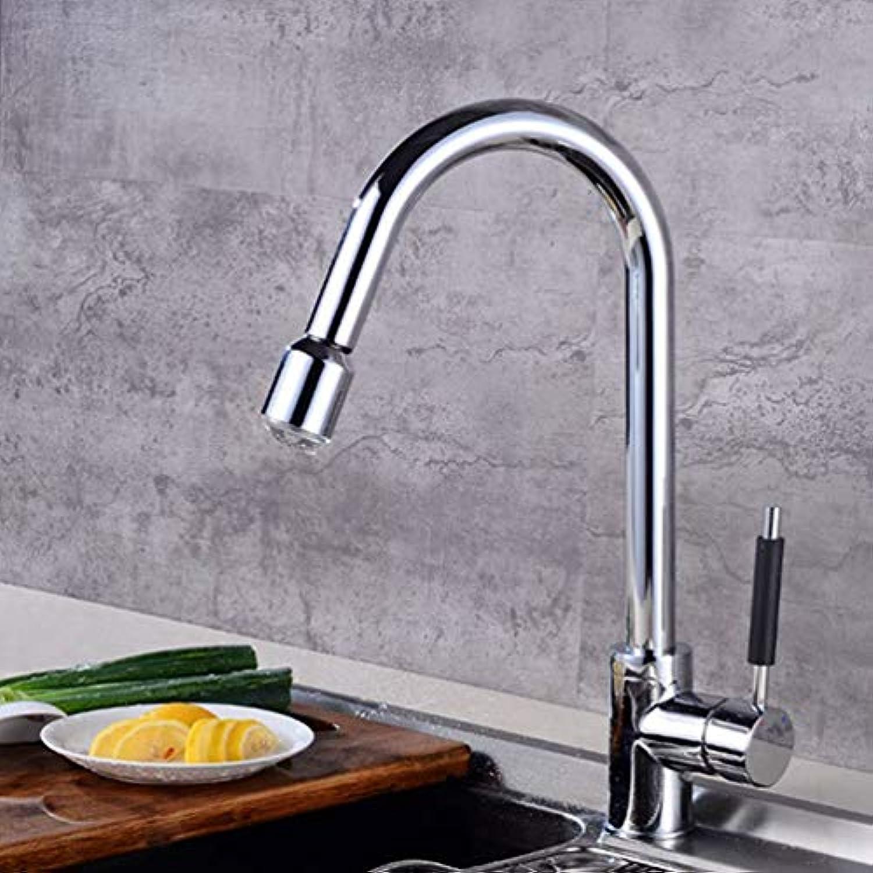 FZHLR Küchenarmatur Led-Hahn-Messingküche-Wannen-Hhne Kalt Warmwasser-Mischer-Hahn Plattform Brachte Küche-Mischer-Hahn 360 Grad Schwenkbar