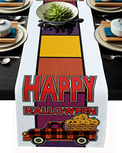 Dining Table Runner 13 by 108 inch Halloween Orange and Black Plaid Truck with Pumpkin Farmhouse Kitchen Table Runners for Banquets Baby Shower Events Table Decor