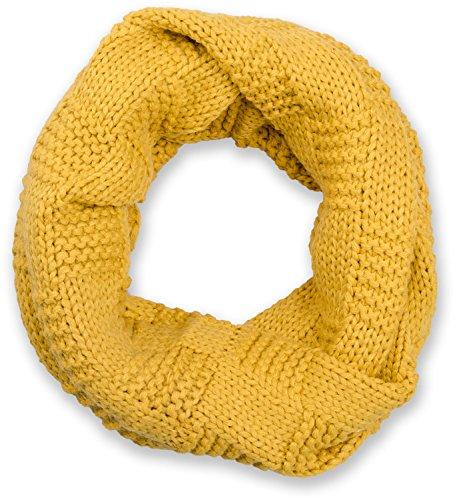 styleBREAKER Strick Loop Schal mit Patentmuster, Uni Feinstrick Schlauchschal, Winter Strickschal, Unisex 01018152, Farbe:Curry