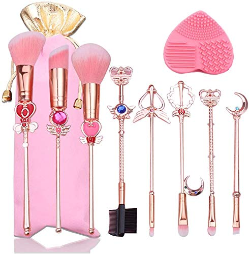 Boyigog 8 Pcs Sets de Brochas para Maquillaje, Gold Cardcaptor Sakura/Sailor Moon Brand Pinceles de Maquillaje Set Cosmetic Powder Foundation Cepillo de Sombra de Ojos Herramienta de Maquillaje