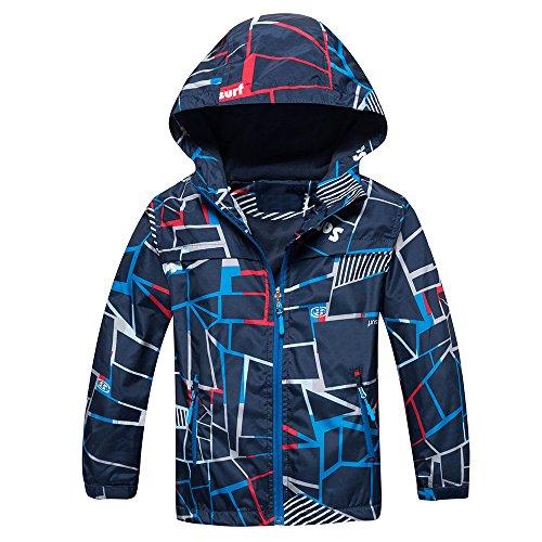 Echinodon Jungen Gefütterte Jacke wasserdicht Winddicht atmungsaktiv Kinder Sportjacke Wanderjacke Übergangsjacke Trekkingjacke Blau 130