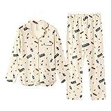 YUESJX Feiteng - Pijama de manga larga para mujer (algodón fresco) Beige beige 170 cm(X-Large)