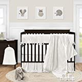 Sweet Jojo Designs Ivory Velvet Baby Girl Nursery Crib Bedding Set - 5 pieces - Solid Color Off White Cream Crinkle Crushed Luxurious Elegant Boho Shabby Chic Vintage Luxury Princess Boutique Designer