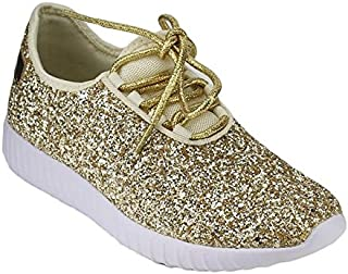 Forever Link Women's Remy-18 Glitter Sneakers Fashion Sneakers Sparkly Shoes for Women Gold (6)