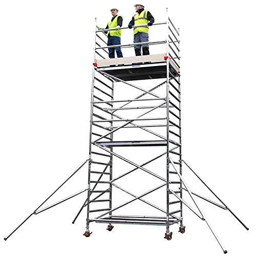 7,8m hoch PRO Trade & DIY Gerüstturm - 2m x 1,4m (BxT) Plattform - 3T durch die Fallenart - Premium Industrie Doppelbreite schmale Sprossenleiter Bauleiter Sicherheitsgerüst Leiter - MOBIL/TRAGBAR