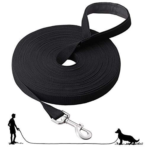 Fttouuy Schleppleine Hunde - 15m Übungsleine mit Gepolsterten Griff- Robuste Trainings Leine aus langlebigem Nylon - Laufleine für große & Kleine Hunde