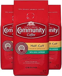 Community Coffee Half Caff Medium Dark Roast Premium Ground 12 Oz Bag (3 Pack), Full Body Smooth Full Flavored, 100% Select Arabica Coffee Beans