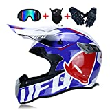 LEENY Casco da Motocross, Stile UFO Bianco Blu Rosso Casco da Moto Set con Occhiali Maschera Guanti, Caschi da Cross Motocicletta off-Road Sport Enduro Downhill ATV MTB BMX Racing Casco,L(58~59cm)