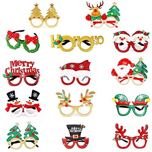 Licogel Cartoon Assorted Novelty Xmas Party Festival Santa Snowman Christmas Glasses Frame Funny 14 Pairs Fashion Assorted