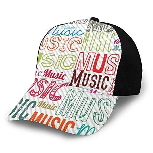JONINOT Männer Frauen Verstellbare Baseballkappe Hut Musik Typografie Rhythmus Akustische Harmonie Melodie Funky Illustration