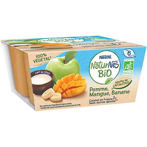 NESTLE Bébé NATURNES BIO Pomme Mangue Banane Lait de Coco - 4x 90g - dès 6 mois