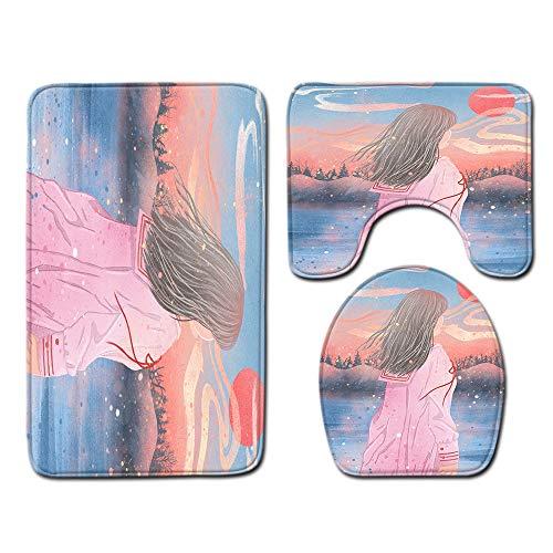 DREAMING-Flanell Toilette Bad Anti-Rutsch-Bodenmatte Türmatte Toilettenbodenmatte Bodenmatte + U-Förmige Matte + Toilettenabdeckung Dreiteilig 50cmx80cm