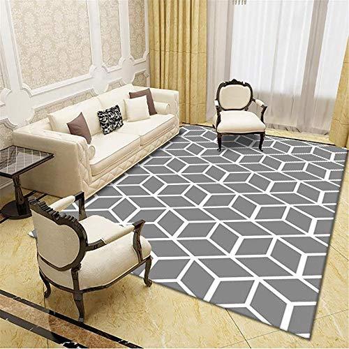 Alfombras alfombras Pasillo El Agua de Alfombra geométrica Blanca Gris se Lava la Sala de Estar Suave y Sucia. Decoracion habitacion niño alfombras Infantil 60*160cm