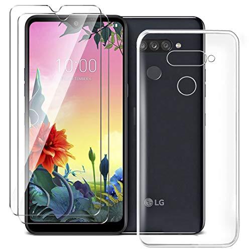 HYMY Hülle für LG K50S Smartphone + 2 x Schutzfolie Panzerglas - Transparent Schutzhülle TPU Handytasche Tasche Durchsichtig Klar Silikon Hülle für LG K50S (6.5