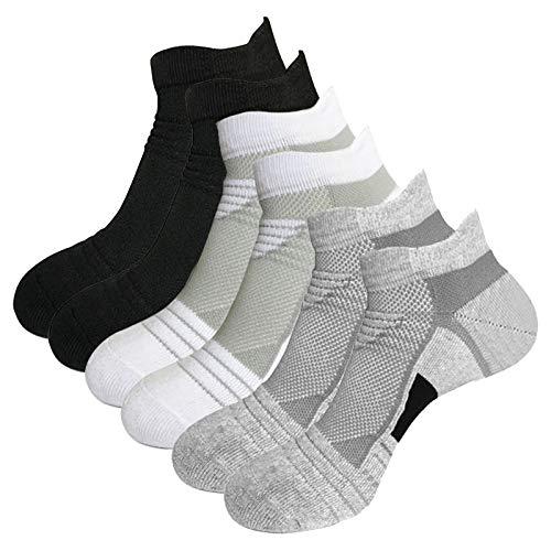 Litthing Calcetines Deportivos Antideslizantes de Algodón para Hombre Desodorante Respirables para Baloncesto Fútbol Yoga de Balonmano Correr engrosamiento de Ciclismo (negro blanco gris +, 6 corto)