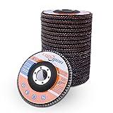 Disco de aleta de 4.5 pulgadas x 7/8 pulgadas, disco de lijado para amoladora angular, 20 unidades 40 60 80 120 Grano surtidos Lijadoras abrasivos de óxido de aluminio, tipo #27