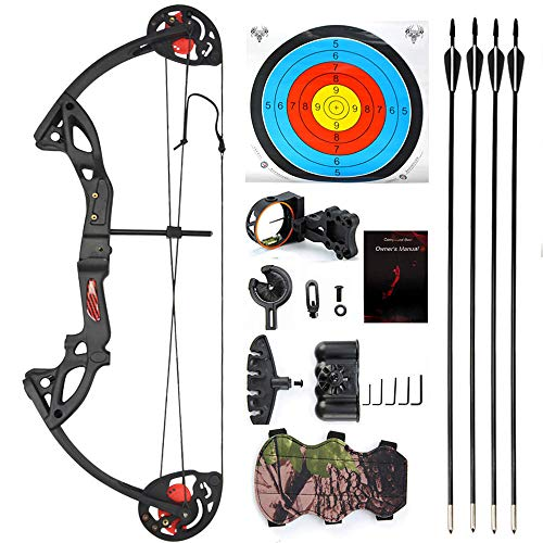 SHARROW Junior Compound Bow Archery Set with 4 Arrows 15 29lbs Children Bow and Arrow Set Youth Archery Training Shooting Game Gifts Black