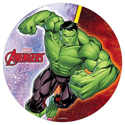 Decoración Tartas de Cumpleaños Infantiles en Disco de Oblea Comestible - Personaje Avengers Hulk - 20 cm
