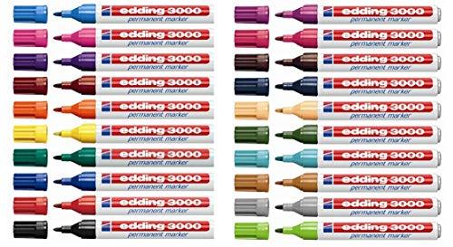 Edding 3000 marcador permanente, 20er-Pack, Todos los colore