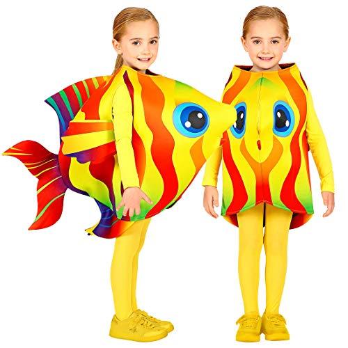 Amakando Farbenfrohes Kinderkostüm Fisch / 116-128cm, 4-7 Jahre / Außergewöhnlicher Kinder-Overall Unterwasserwelt / EIN Blickfang zu Kinder-Fasching & Mottoparty