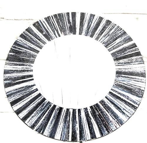 funky global Spiegel, gestreift, ca. 50 cm, Schwarz/silberfarben Fairtrade, handgefertigt