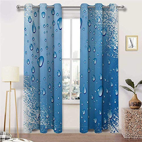 "igoga sports Room Darkening Curtain Grunge Bedroom Curtains Window Treatment Realistic Water Drops Bubbles on Worn Scratched Looking Backdrop Freshness Purity 2 Grommet Curtain Panels, 38"" W x 45"" L"