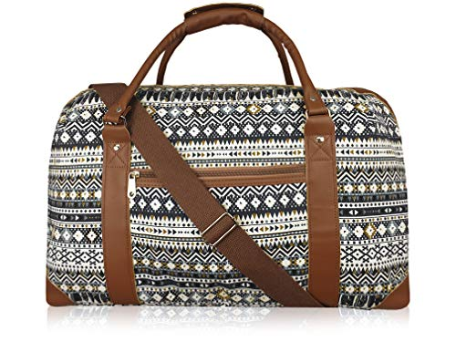 Canvas Travel Holdalls - Weekend Overnight Bags - Medium Size Holiday Duffle Bag - Ideal Womens Ladies Gym Holdall - Hand Luggage Cabin Baggage 50cm x 30 x 25, 35 Litre - QL216M (Black Azteca)