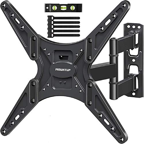 MOUNTUP TV Wall Mount, Full Motion Tilting TV Mount Bracket for Most 26-55 Inch Flat Curved TVs with Articulating Arms, Wall Mount TV Bracket with Max VESA 400X400mm and 88lbs, Fits Single Stud MU0014