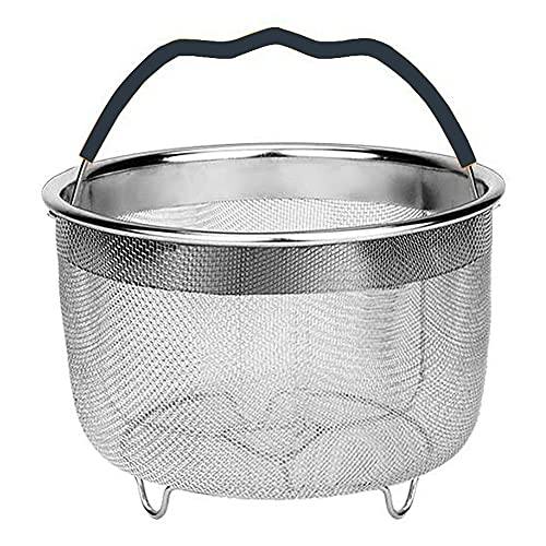 BAINA Sturdy Steamer Basket Stainless Steel Steamer Insert with Silicone Covered Handle Fits Most Pressure Cookers for Steaming Vegetables Eggs Rice Meat 6Qt