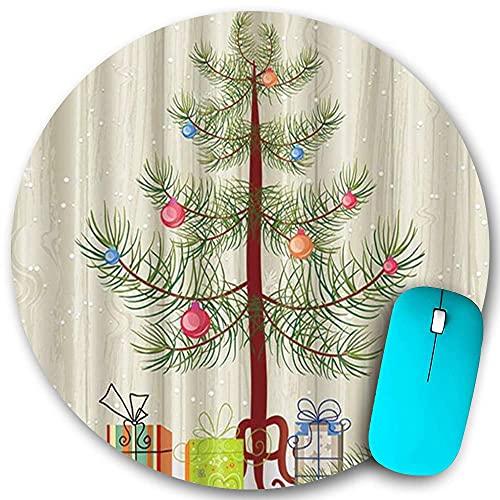 Rundes Mauspad rutschfester Gummi, Geschenkbox unter dem Weihnachtsbaum Schneeflocke, wasserdichte, haltbare Mausmatte Büro-Desktops Persönlichkeit 7,9 'x 7,9'