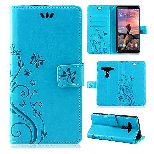 betterfon | Flower Case Handytasche Schutzhülle Blumen Klapptasche Handyhülle Handy Schale für HTC U12+ Blau