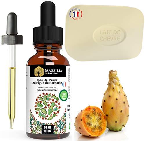 Aceite de semillas de higo de barbaria ecológico + jabón de leche de cabra ecológico - Cuidado facial, antiojeras, antiarrugas, cabello, cuerpo y estrías - Productos naturales
