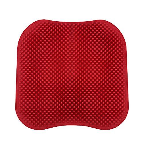 Cojín de asiento de coche de gel de sílice Cojín de silla antideslizante transpirable de silicona de silicona Tapa de asiento para automóviles para automóvil Oficina en casa ( Color Name : Red )