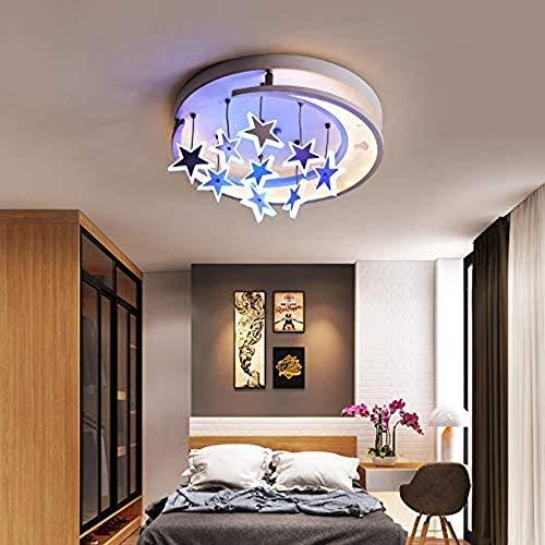 Inicio Equipo Lámparas de techo Lámpara de techo LED de cocina Hermosa lámpara de techo LED empotrada con luna colgante y estrellas brillantes para dormitorio, sala de estar, comedor, cocina (luz b