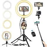 LED Ringlicht mit Stativ Bluetooth-Fernbedienung, 10' Selfie Ringleuchte Doppel-Handyhalter mit 3 Farbe und 10 Helligkeitsstufen, Verstellbarer Stativständer, Selfie Stick für Tik...