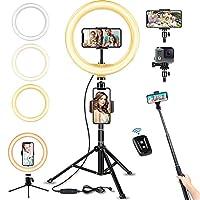 """Dimmbare 10 Zoll / 5600K 120pcs LED Perlen : Upgrade 10"""" selfie licht verwendet die neueste Technologie, In Vergleich mit andren Selfie Fülllicht ist LED Ringlicht für Handy größer und leistungsstärker. Äußere 5600K 120 Stück LED-Lampen mit einer bre..."""