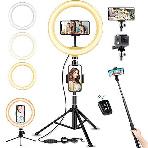 LED Ringlicht mit Stativ Bluetooth-Fernbedienung, 10' Selfie Ringleuchte Doppel-Handyhalter mit 3 Farbe und 10 Helligkeitsstufen, Verstellbarer...