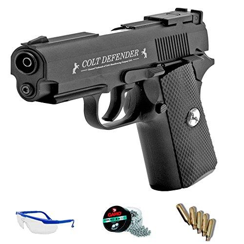 PACK pistola de aire comprimido Colt Defender - Pistola Umarex semiautomática fullmetal de perdionges BB de acero 4.5mm <3,5J