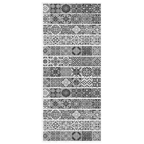 ZDDBD Pegatinas Adhesivos Autoadhesivos para Escaleras Cocina Piso Baño Decoración Vintage Multicolor Multi-Estilo Hogar Impermeable Extraíble Etiqueta De Pared 18 * 100Cm * 13Pcs- Azulejo 03 Gris
