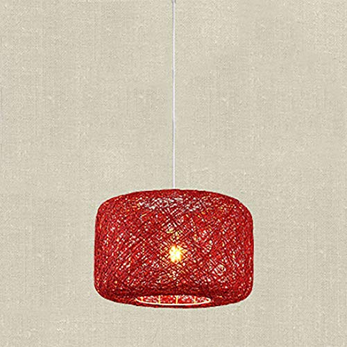 Lámpara de bambú de color natural Lámpara de mimbre de mimbre de bricolaje Sombras Tejido Luz colgante Lámpara de araña E27 Linterna Estilo de sudeste asiático Linterna de jardín japonesa,Rojo