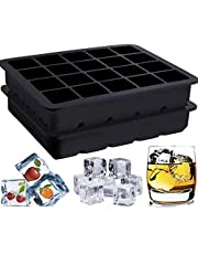 Ice Cube Tray, Playmont Food Grade Silicone Ice Mold Maker, Square shaped Ice Tray Molds for Whiskey, 2 Pack Silicone Tray Set for 40 Pcs Square Cubes Flexible Stackable Easy Release Freezer Molds for Ice, Chocolate, Jelly(Black)