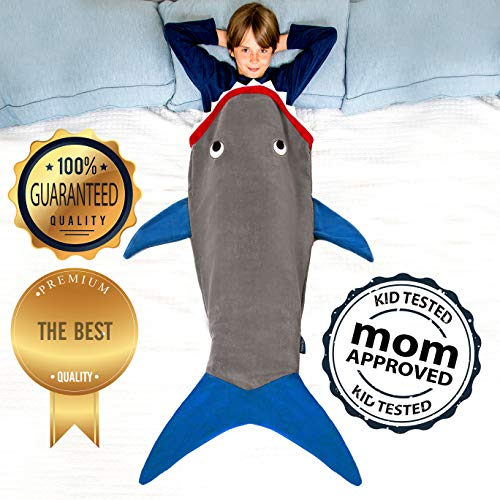 """Product Image 4: Blankie Tails   Shark Blanket, New Shark Tail Double Sided Super Soft and Cozy Minky Fleece Blanket, Machine Washable Wearable Blanket (56"""" H x 27"""" (Kids Ages 5-12), Glow in The Dark – Gray & Blue)"""