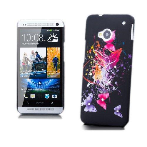 iCues HTC One M7 |  Strass Blumen Case Schmetterling | [Display Schutzfolie Inklusive] Motiv Muster Strass Glitzer Glitter Luxus Bling Damen Frauen Mädchen Schutzhülle Hülle Cover Schutz