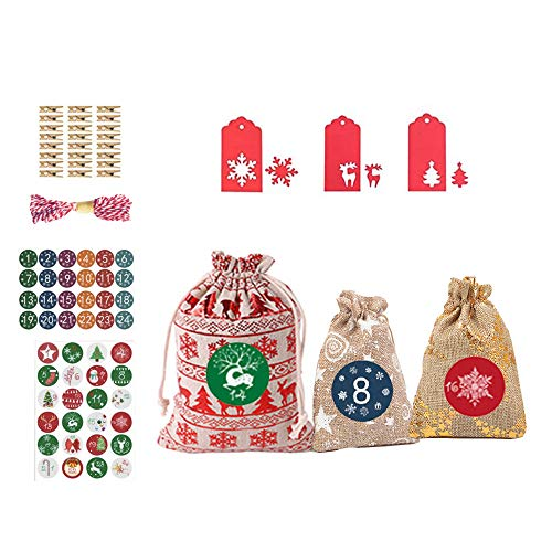 Anyingkai Adventskalender Säckchen,Weihnachtskalender Bastelset,Weihnachtskalender Zum Befüllen,Weihnachtskalender Tüten,Geschenkbeutel Säckchen, Bags