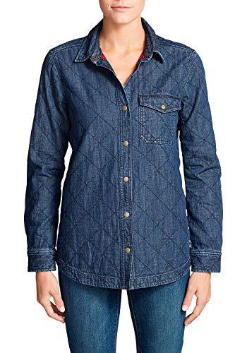 Eddie Bauer Quilted Jeans-Blusenjacke-aus Baumwolle-XS-XXL, Blusa para Mujer, Blau (Medium Vintage 527) M