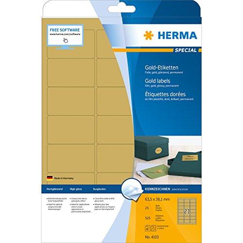 HERMA 4103 Wetterfeste Folien-Etiketten DIN A4 gold (63,5 x 38,1 mm, 25 Blatt, Polyesterfolie, glänzend) selbstklebend, bedruckbar, permanent haftende Etiketten Aufkleber, 525 Klebeetiketten