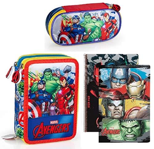 Marvel´S The Avengers Bolsa de Plumas, Plumero 3-fach Lleno Jóvenes Caja de Lápices Estuche de Lápices Plumier Bloc de Notas Captain America Thor Iron Man el Increíble Hulk