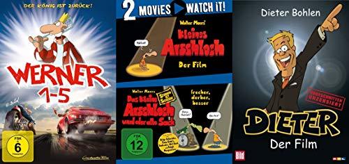 8 Filme - Werner - Beinhart ! Teil 1 2 3 4 5 + Das kleine Arschloch - Der Film & Der alte Sack + Dieter der Film 8 DVD deutsche Zeichentrick Kultfilme Edition