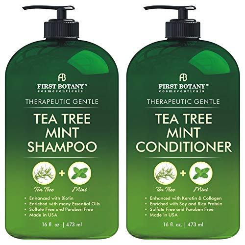 Tea Tree Mint Shampoo and Conditioner - This set contains Pure Tea Tree Oil & Peppermint Oil -...